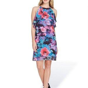 Tahari Sleeveless Floral Print Chiffon Shift Dress